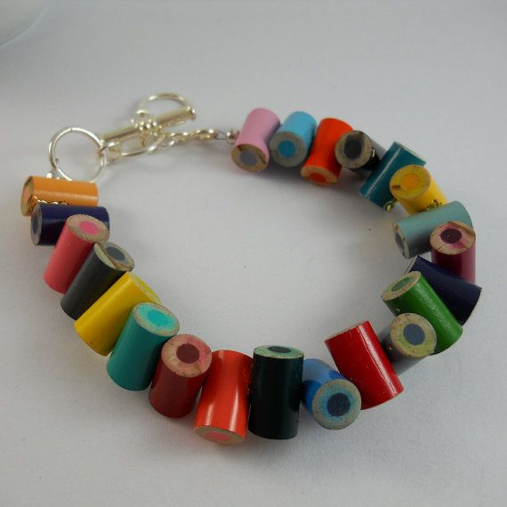 Colored Pencil, Beaded Bracelet, Jewelry, Charm Bracelet, Upcycled, Teacher, Artist, Gift, Recycled, Friendship, Rainbow, Multi Colo