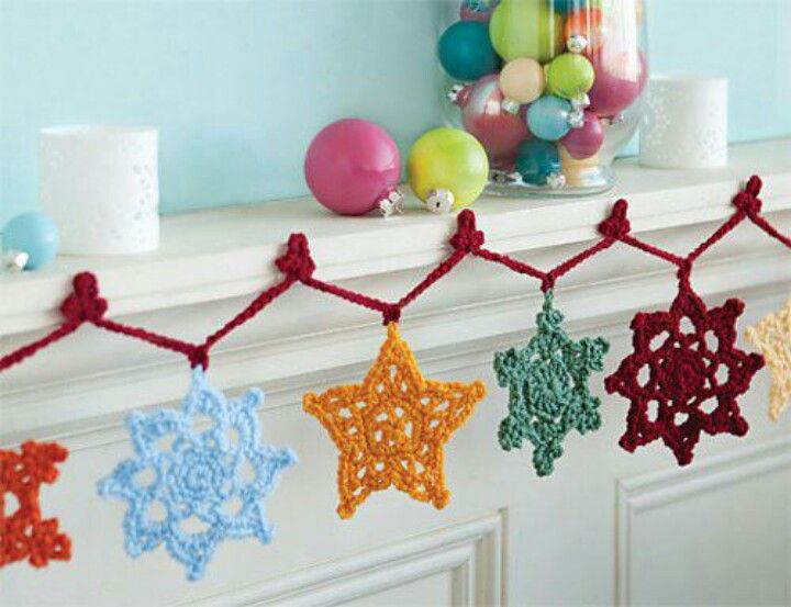 Image result for big crochet christmas garlands
