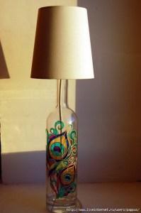 Wine Bottle Lamp Peacock | Lighting | Pinterest