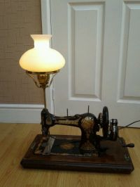 Art deco sewing machine turned into a lamp with USB ...