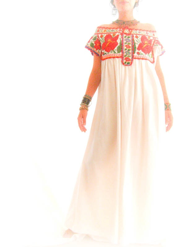 Mexican embroidered wedding dress  I love color  Pinterest