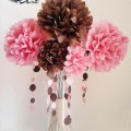 Paper flower center piece with circle garland pieces made for
