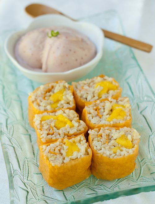 How To: Mango Sushi Roll with Strawberry Coconut Ice Cream. More like dessert than anything! ;)
