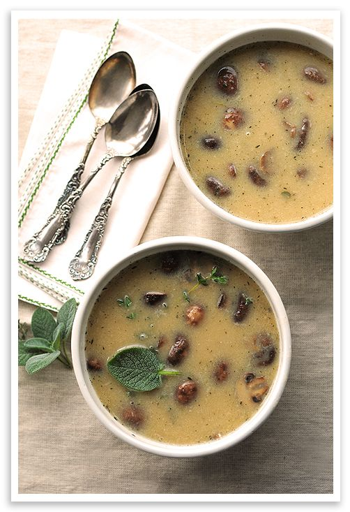 // White Bean and Roasted Mushroom Soup