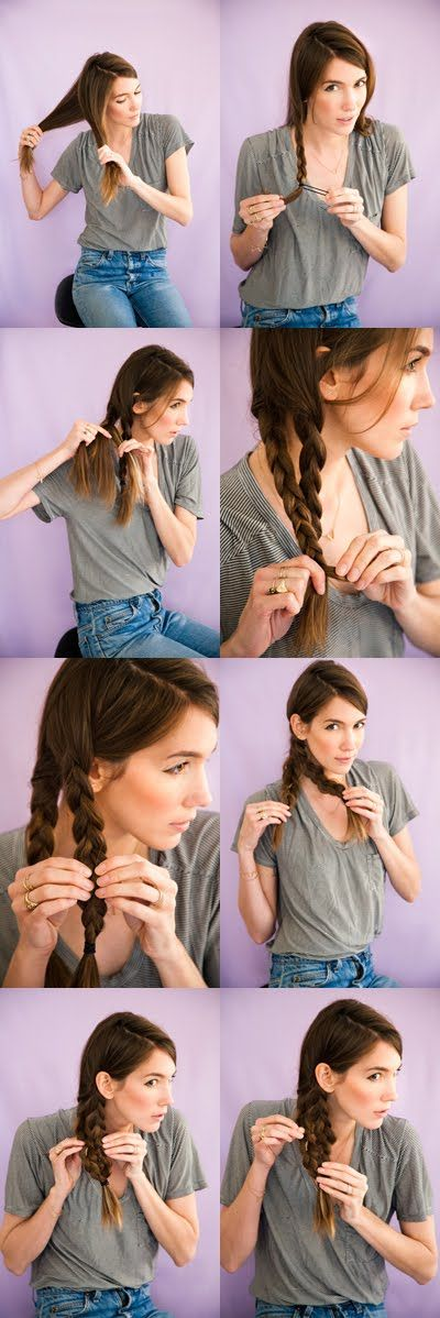 Make two dutch braids with hair. Fatten out the two braids by pulling apart the outer edges. Line up the two braids so they begin to look like one big fat braid. It's important to make sure the middle section of the mermaid tail lines up--don't worry if the ends of your braids (the hair that is sticking out underneath the elastic) are uneven. Pin the center of the two braided sections together. Start with the pin facing horizontally, then as you push it into the hair, you direct it vertically