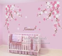 Nursery wall decal baby girl and name wall decals flowers