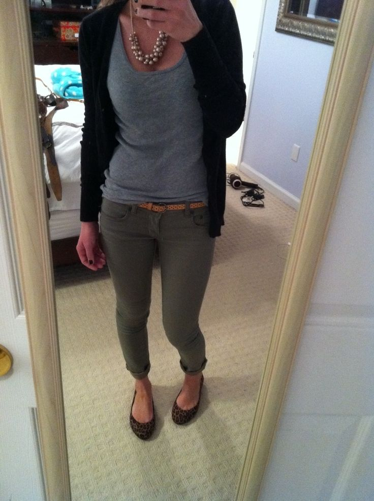 Olive pants: grey top + black/navy cardigan. Rolled up with flats. Could even use navy sleeveless cardigan