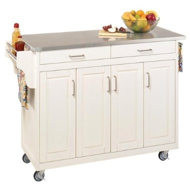 Home Styles Kitchen Cart with Stainless Steel Top  White