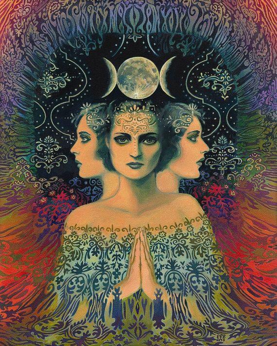 Moon Goddess of Mystery Psychedelic Tarot Art 11x14 Print