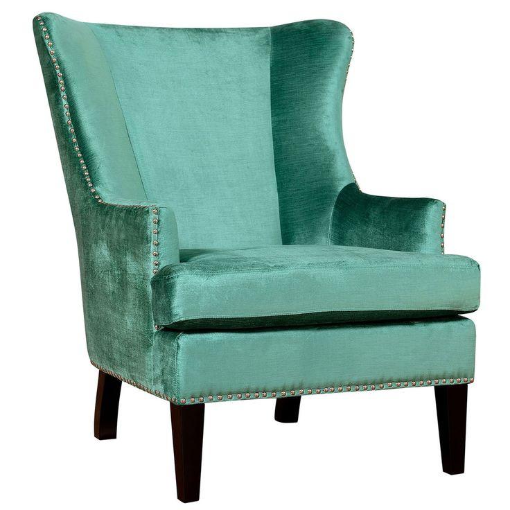 Soho Turquoise Velvet Wing Chair