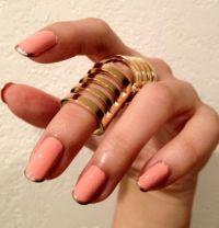 Coral/Gold French Tip Nails | Nails, Hair and Makeup ...
