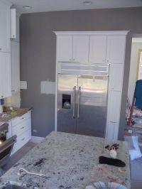 Kitchen: Gray walls White cabinets