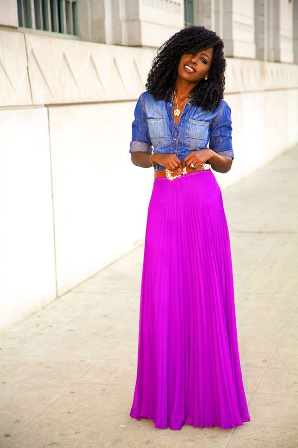 @Karen Darling Pantry Fitted Denim Shirt + Pleated Maxi Skirt