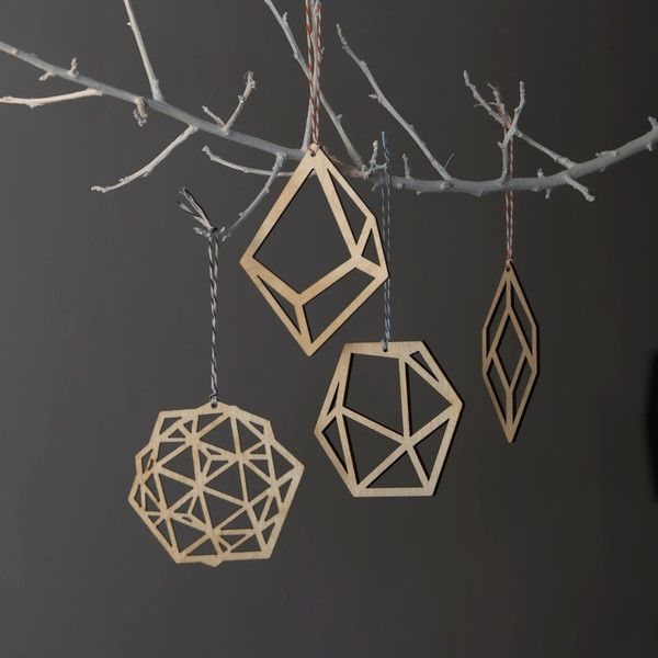 Laser cut geometric plywood christmas tree decoration set £20 Made in Britain.