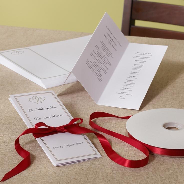 Platinum Hearts Wedding Program Paper Do It Yourself