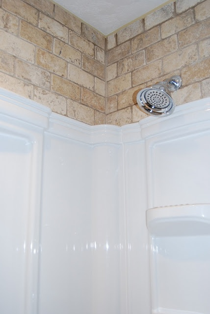 tile above shower insert  bath ideas  Pinterest
