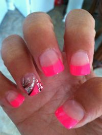 Hot pink acrylic! | hair and beauty | Pinterest