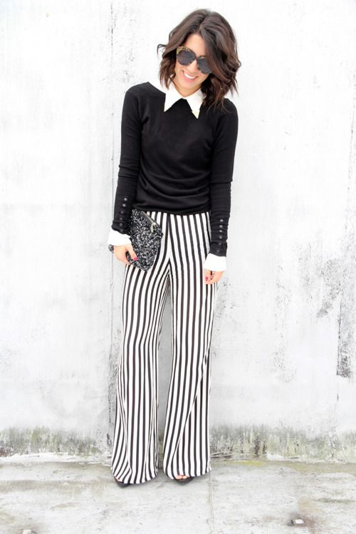 classic black & white outfit - striped circus pants