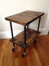 Industrial Side Table, Plumbing Pipe Table, Wood Table ...