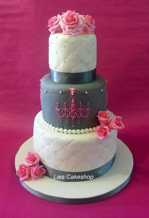 Pink and Grey Wedding Cake (minus the chandelier on the second tier)