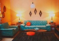 orange and turquoise retro living room | A Retro ...