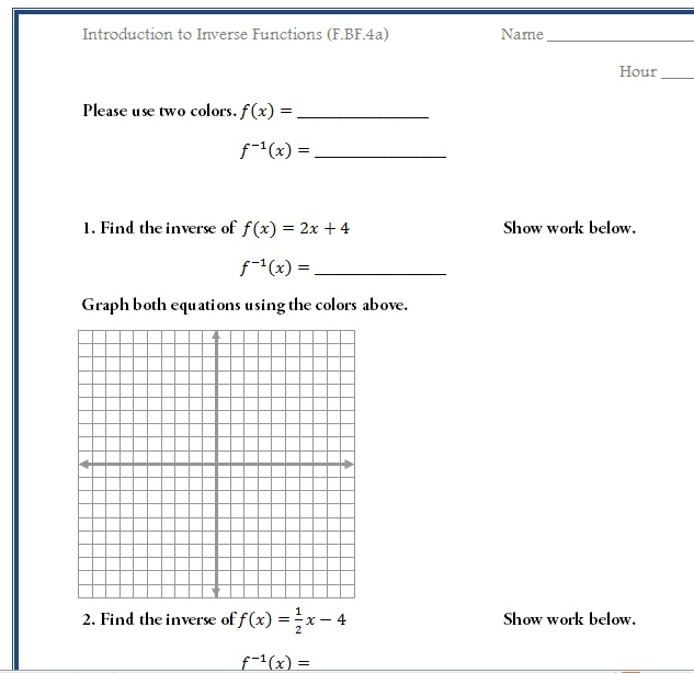 Printables. Inverse Functions Worksheet. Messygracebook