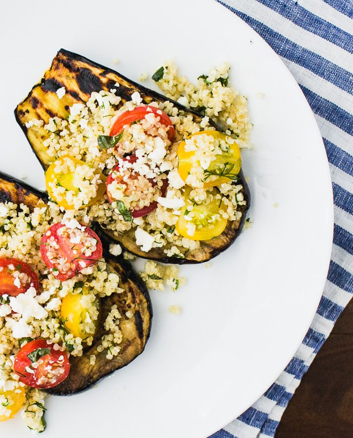 Grilled Eggplant with Herbed Quinoa and Cherry Tomatoes by a Couple Cooks - A flavorful vegetarian and gluten-free dinner option.