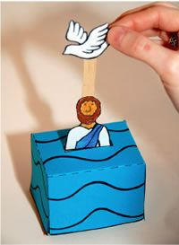 Lesson 6 John Baptizes Jesus:  Matt 3, Mark 1, Luke 3, John 1 - Jesus' baptism using upside down blue paper cup and popsicle stick