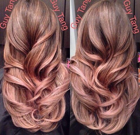rose gold highlights in brunette hair dark brown hairs