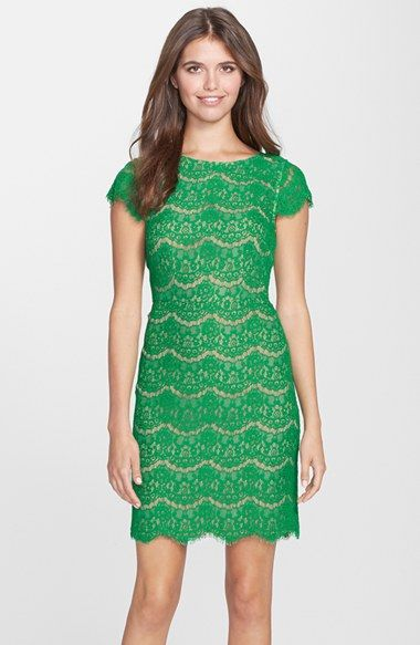 Darling 'Candace' Scalloped Lace Sheath Dress