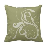Sage Green and White Swirl Throw Pillow