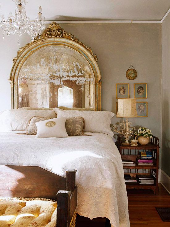 gorgeous old mirror as a headboard