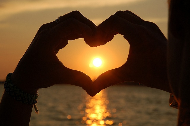 Image result for Hands Heart Sunset