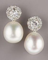 pearl & diamond drop earrings. | Beauty & Style | Pinterest