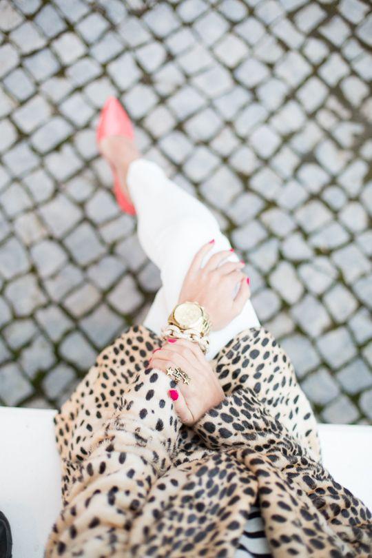 leopard + white + coral