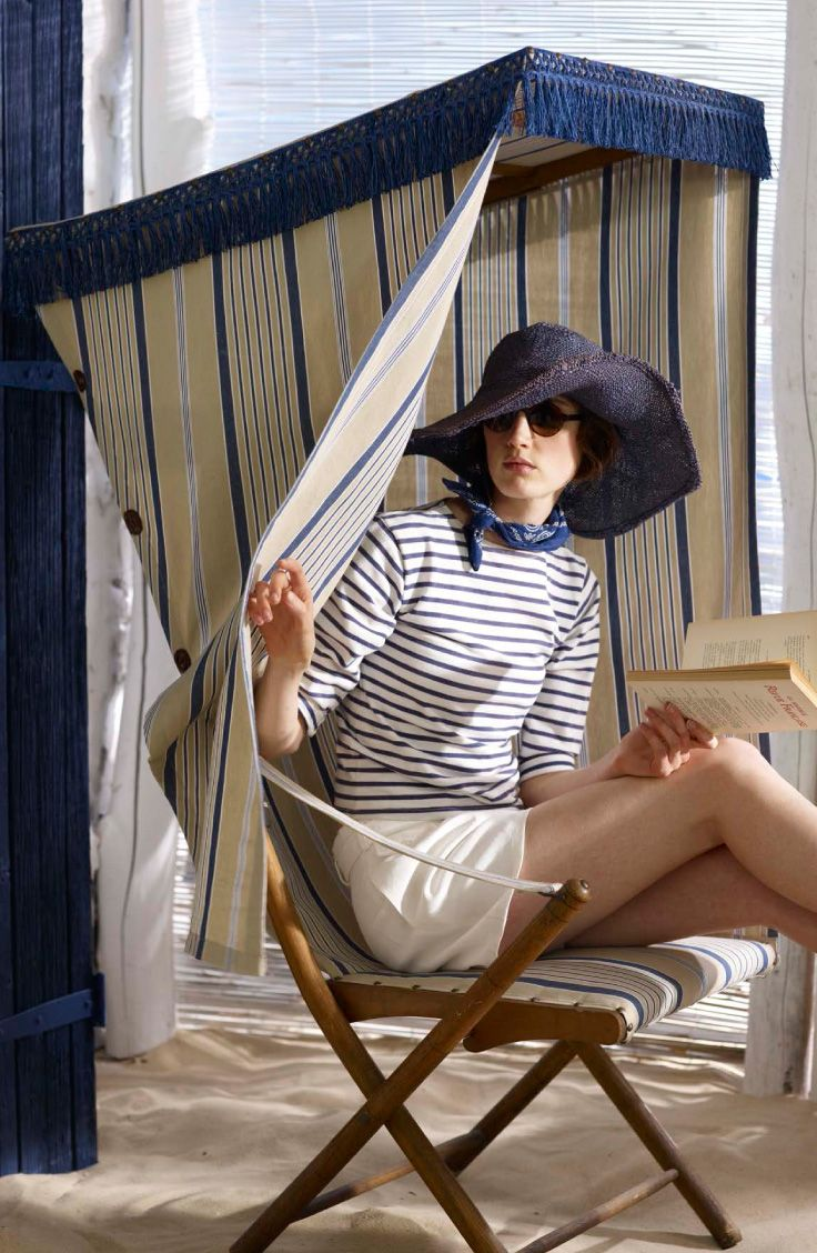 Your own personal beach cabana is sweet in a blue and white striped fabric, Ralph Lauren Home Cap Ferrat Stripe