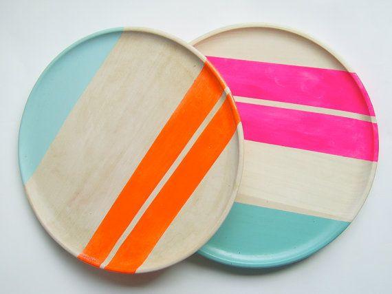 Modern Neon Hardwood Dinner Plate /