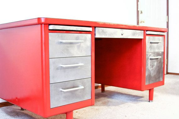 vintage tanker desks get a facelift with brushed metal drawers and a fresh color