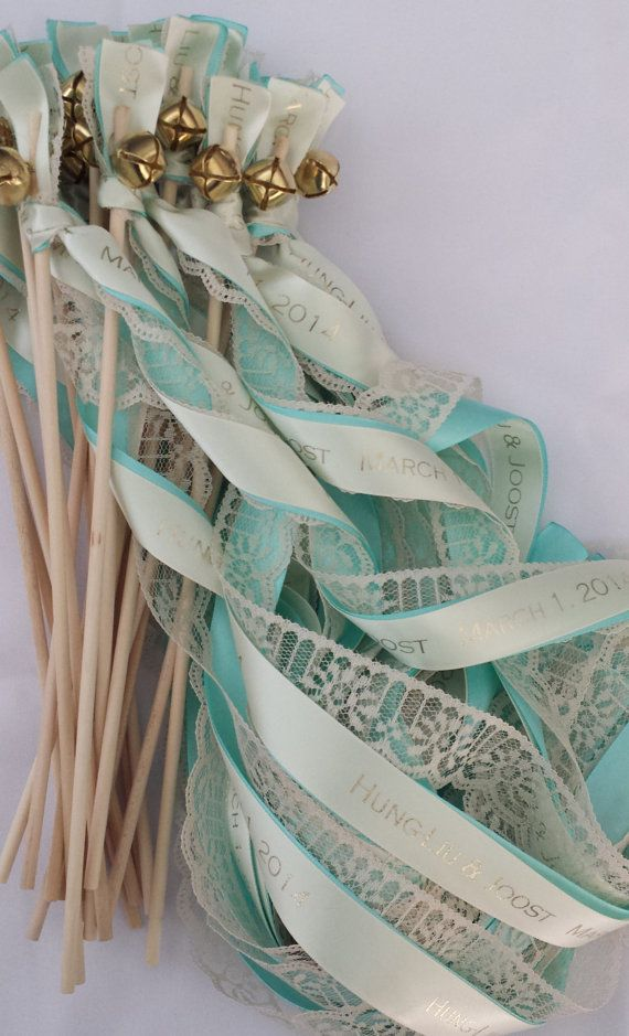 Personalized Wedding Ribbon Wands set of 100 Lace Wands, Custom Colors, Names, Date, weddings, baby, birthday, nautical, streamers, bubbles on Etsy, $172.00