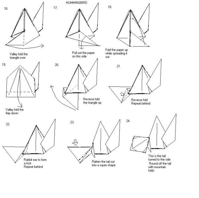 Origami Hummingbird Instructions