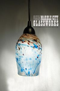 Turquoise Speckled Hand Blown Glass Pendant Light - Unique ...
