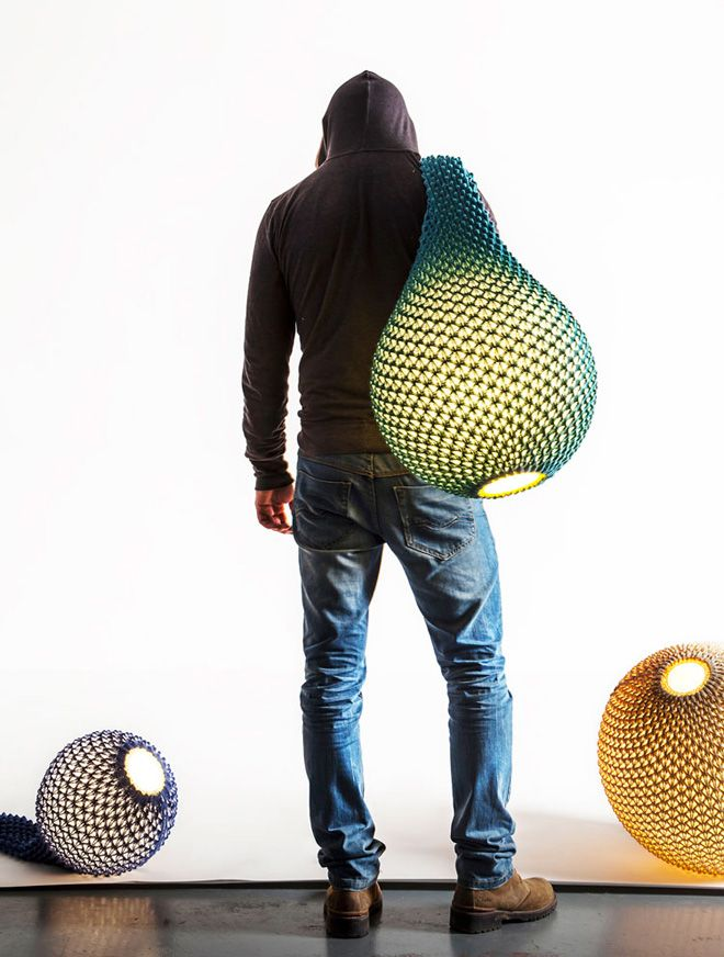 crocheted or Knitted lamps by Ariel Zuckerman ♪ ♪ ... #inspiration_diy GB