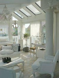Beautiful Shabby Chic Sunroom | Black & White love that ...