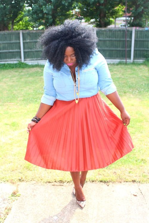 Pleated Skirt and Denim