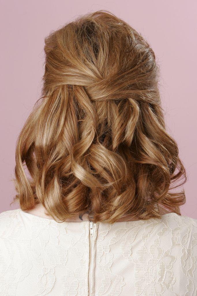Shoulder Length Curly half updo Hair