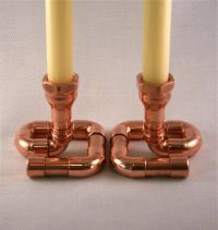 Set of 2 Copper Candle Holders Candlesticks