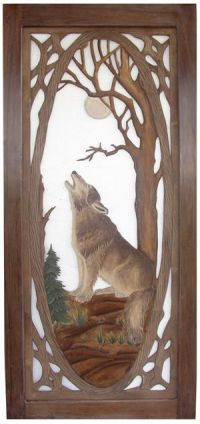 Rustic Carved Screen Door - Wolf | For the Home | Pinterest