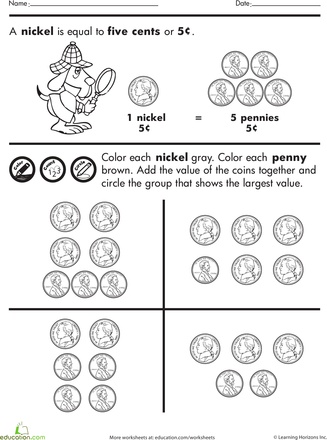 Color And Count Nickels And Pennies