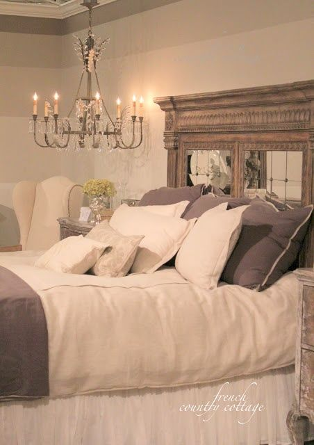 FRENCH COUNTRY COTTAGE: High Point Market -peeks...I love the layers of paint around the room and the head board I am sure this cold be made...it is gorgeous
