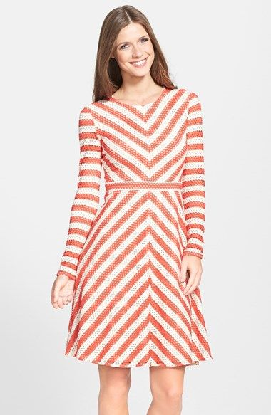 BCBGMAXAZRIA 'Kristina' Stripe Eyelet Fit & Flare Dress
